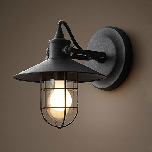 SUNWE Vintage Style Industrial Wall Lamp Mini Wire Cage Iron Wall Sconce  (Satin Black 1 Light)